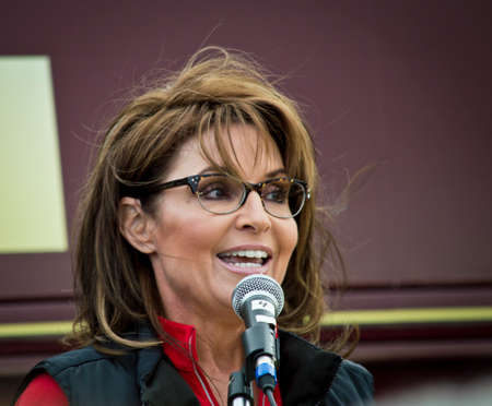 NEW EGYPT, NEW JERSEY USA – OCTOBER 12  Former Alaska governor and political superstar Sarah Palin at the Tea Party rally for Steve Lonegan on October 12 2013 in New Egypt New Jersey