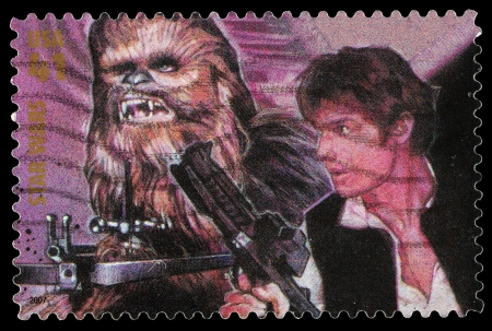 United States - CIRCA 2007: A Used Postage Stamp printed in the United States, showing Han Solo and Chewbacca from the Star Wars Films, circa 2007