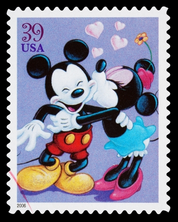 United States - CIRCA 2006: A Used Postage Stamp printed in the United States, showing Mickey Mouse and Minnie Mouse Kissing, circa 2006
