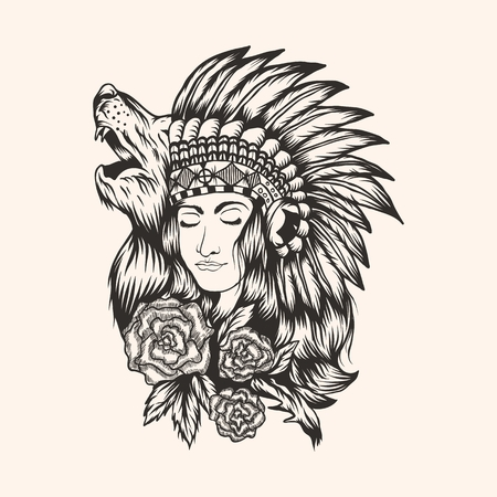 Illustration pour Native American  beautiful  Girl vector illustration for your company or brand - image libre de droit