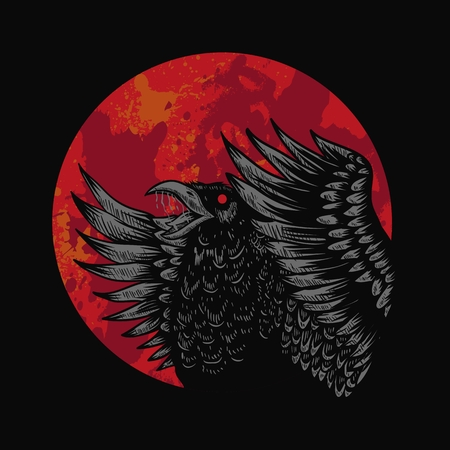 Crow Red Moon Vector illustration