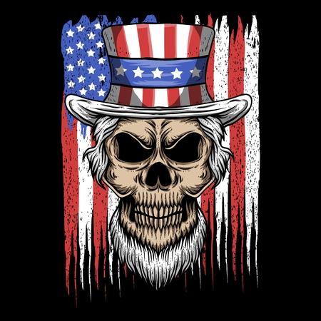 Illustration pour skull uncle sam usa flag vector illustration - image libre de droit
