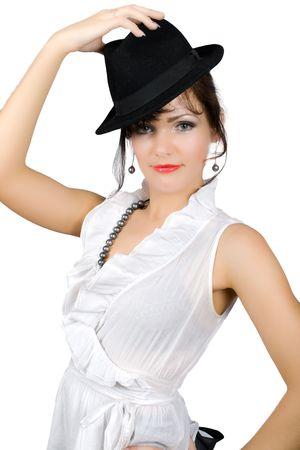 portrait of  retro busisnesswoman in hat isolated on white