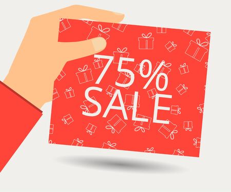 Hand holds a 75 percent discount on the price. Special offer for holidays and weekends. Card with a seamless pattern of gift boxes. Design element in a flat style.