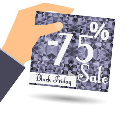 Discount coupons in hand. 75 percent discount. Special offer for holidays and weekends. Card on polygon background in dark colors. Design element in a flat style.