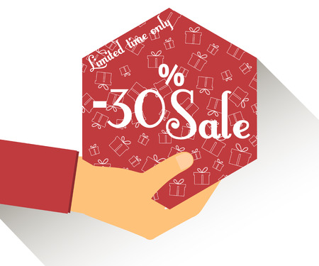 Discount coupons in hand. 30 percent discount. Special offer for holidays and weekends. Card with a seamless pattern of gift boxes. Design element in a flat style.