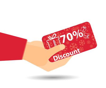 Discount coupons in hand. 70-percent discount. Special offer for holidays and weekends. Card with a pattern of snowflakes and gift boxes. Design element in a flat style.