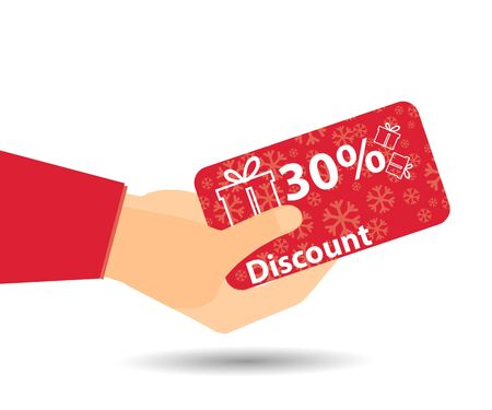 Discount coupons in hand. 30-percent discount. Special offer for holidays and weekends. Card with a pattern of snowflakes and gift boxes. Design element in a flat style.