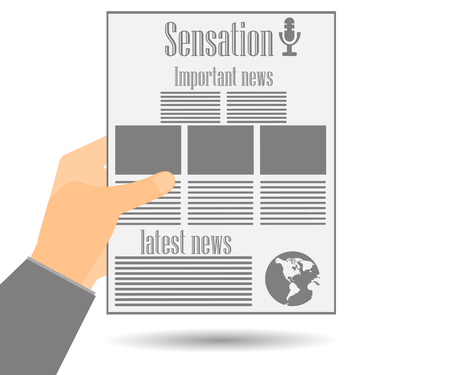 Newspaper in hand. Important news read in a newspaper. Vector illustration.