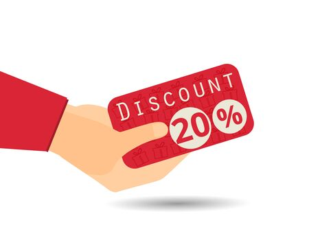 Discount coupons in hand. 20 percent discount. Special offer. Gift boxes in the background.