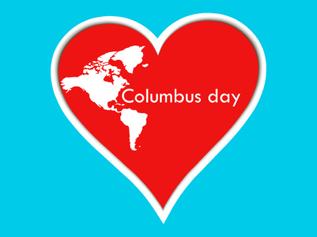 Columbus Day stickers heart. Poster with heart and continents. Vector illustration.