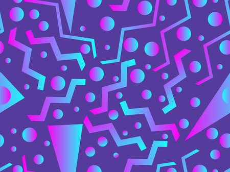 Memphis seamless pattern  Holographic geometric shapes