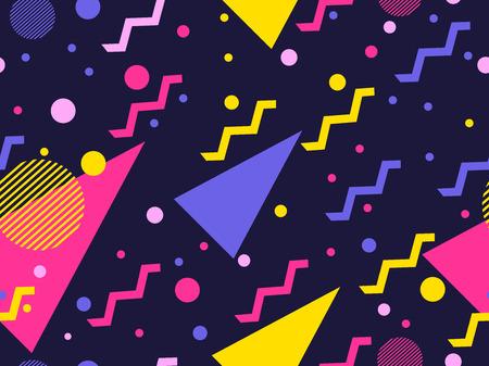 Illustration pour Memphis seamless pattern. Geometric elements memphis in the style of 80's. Vector illustration - image libre de droit