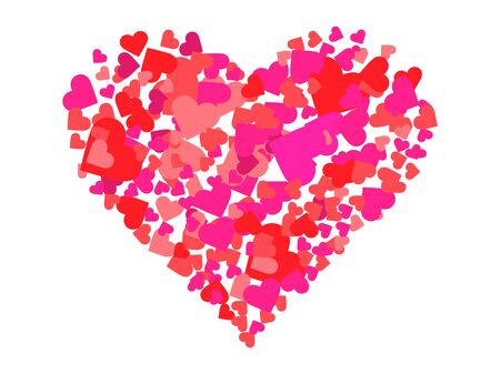 Photo pour Heart made of hearts. Happy Valentine's day, 14th of February. Background for greeting card, wrapping paper, promotional materials. Vector illustration - image libre de droit