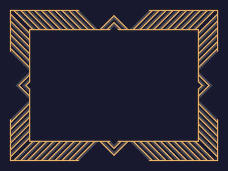 Illustration pour Art deco frame. Vintage linear border. Design a template for invitations, leaflets and greeting cards. Geometric golden frame. The style of the 1920s - 1930s. Vector illustration - image libre de droit