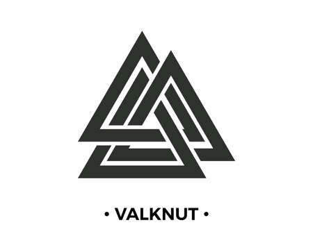 Illustration for Valknut is a nordic symbol, an interweaving of three worlds. Sign of the god Odin. Norse culture. Viking symbol. Valknut isolated on white background. Vector illustration - Royalty Free Image