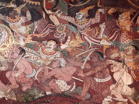 Ancien Ramayana picture on the wall in Thai temple. This picture is over 200 year old in Wat Yai, Thailand.