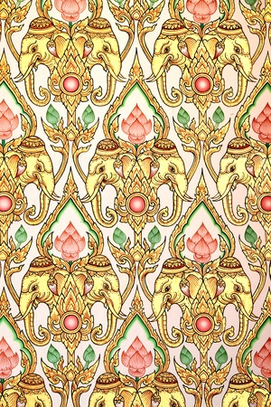 Thai pattern background thai pattern elephant with golden and white.