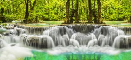Second level of Erawan Waterfall in Kanchanaburi Province Thailand