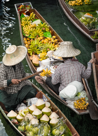 Traditional floating market , Thailand.