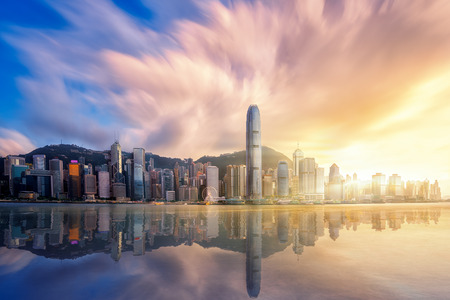 Photo for Hong kong city before sunset with Victoria peak, Hongkong Harbour and reflection, Hong kong, China - Royalty Free Image