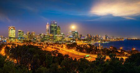 Foto für Perth, Panoramic cityscape image of Perth skyline, Australia during dramatic sunset - Lizenzfreies Bild