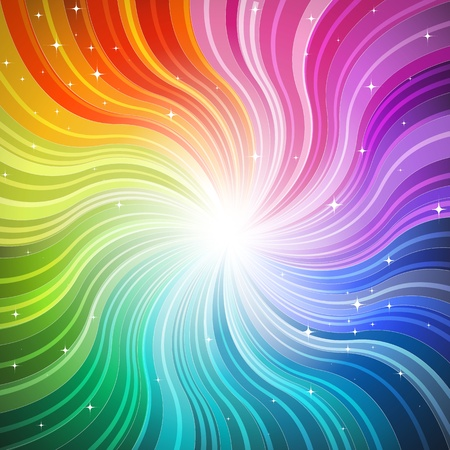Rainbow-wave background with glittering stars
