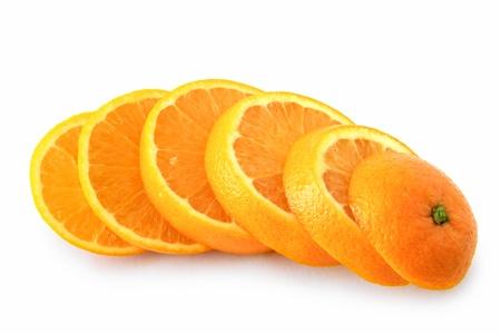 ripe orange cut into slices