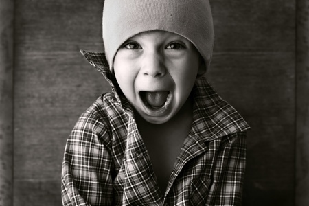 boy in the hat shouted, black and white photography