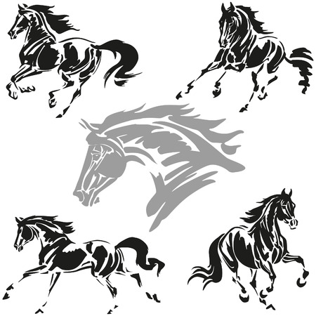 Vector illustrations based on brush-drawn studies of galloping horses.