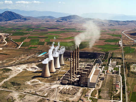 Fossil fuel power plant in operation, aerial view