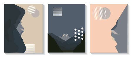 Illustration pour Cover templates are set with graphic geometric elements with images of mountains. It is used for posters, brochures, posters, covers and banners. Vector illustration. - image libre de droit