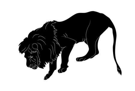 Illustration pour vector illustration of a lion who stands, silhouette vector, white background - image libre de droit