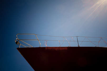Photo for Close up of ship prow nautical vessel detail. Sailing and shipping objects. - Royalty Free Image