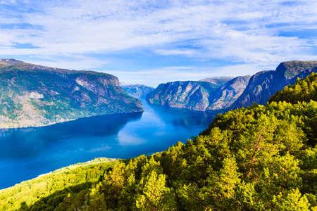 Foto de Aurlandsfjord fjord landscape, Norway Scandinavia. National tourist route Aurlandsfjellet. - Imagen libre de derechos