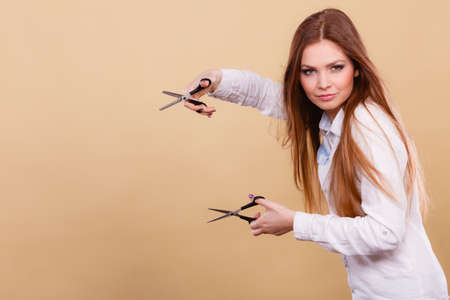Foto für Cutting and trimming. Haidressser with vision of new look her client. Professional woman hairdresser barber with scissors make change cut hair. - Lizenzfreies Bild