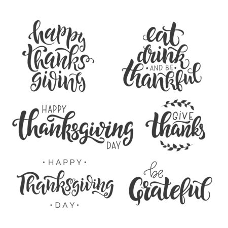 Illustration pour Happy Thanksgiving Day lettering set. Hand written greeting card template for Thanksgiving day. Modern calligraphy, hand lettering  inscription. Isolated typography print. Vector illustration. - image libre de droit