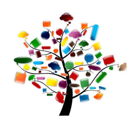 Illustration pour Tree With Glossy Speech Bubbles, Vector Illustration - image libre de droit