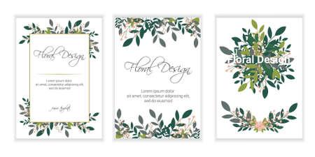 Illustration pour Wedding Invitation, floral invite card Design: Peach lavender pink garden Rose, succulent, wax, eucalyptus, green palm leaves, forest fern greenery geometric golden frame print. Vector cute copy space - image libre de droit
