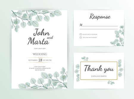 Illustration pour Wedding Invitation modern card Design: green tropical leaf greenery eucalyptus branches decorative wreath & frame. - image libre de droit