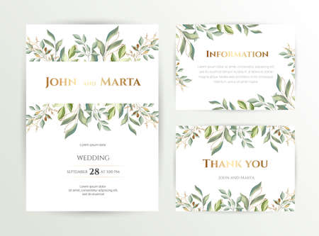 Illustration pour Wedding invite. Set of card with leaves and geometrical frame. Design with forest green leaves, eucalyptus, fern & golden geometric frame. Floral Trendy templates for banner, flyer, poster, greeting. - image libre de droit