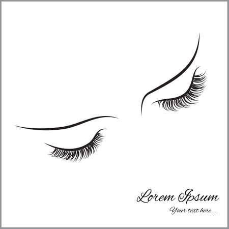 Ilustración de Closed eyes with long eyelashes Sample logo for a beauty salon, beauty products. - Imagen libre de derechos