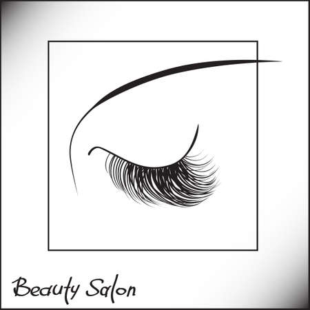 Illustration for Closed eyes with long eyelashes Sample logo for a beauty salon, beauty products. - Royalty Free Image