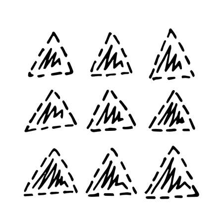 Collection of hand drawn triangles. Set of black and white geometric elements