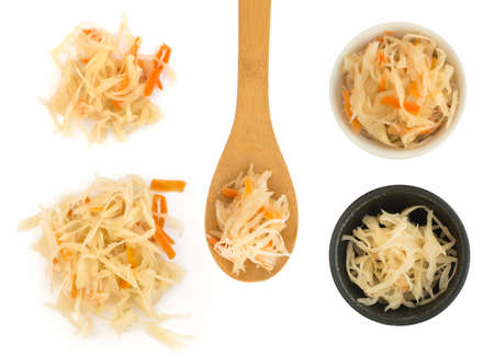 Set of Homemade Sauerkraut Isolated on White Background Photographed with Natural Light