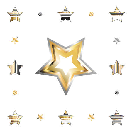 Illustration for Gold star with metal gradient isolated on white background for holiday design. Golden and silver stars icon collection - Royalty Free Image