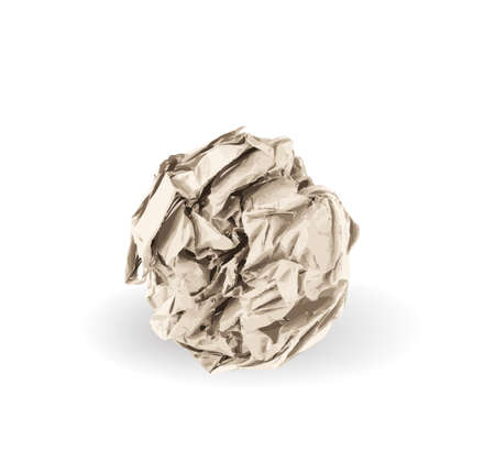 Illustration pour Crumpled Paper Ball Isolated on White background. Natural Textured Brown Wadded Up Document Sheet. Crumpled Up Paper - image libre de droit