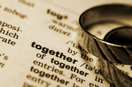 wedding rings near dictionary entry word together in sepia