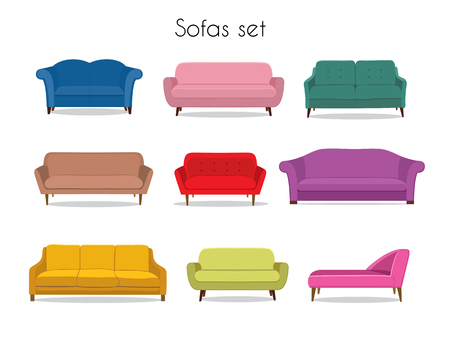 Sofa colored vector set. Comfortable couch collection isolated on white background for interior design. Collection of sofa illustrationのイラスト素材