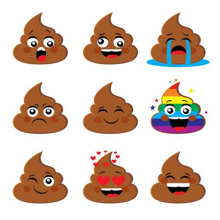 Foto de Set of of poo shit emoji icon with different face expression Poop emoticons smileys vector collection. Emotions or poop emotions vector signs - Imagen libre de derechos